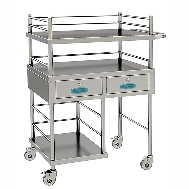 SKH028 Stainless Steel Anesthesia Treatment Trolley